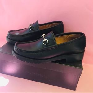 Vintage black Gucci leather loafers in box